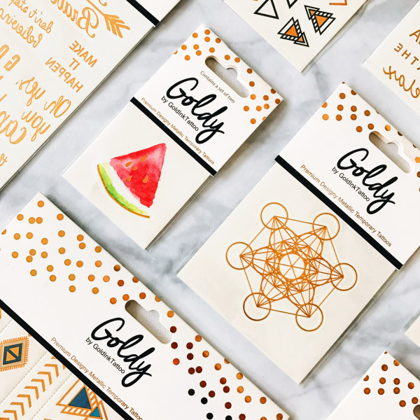 Wholesale metallic flash temporary tattoos with header cards