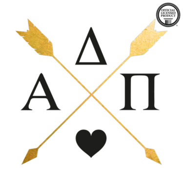 alpha delta pi sorority tattoo, arrow custom metallic flash temporary tattoo