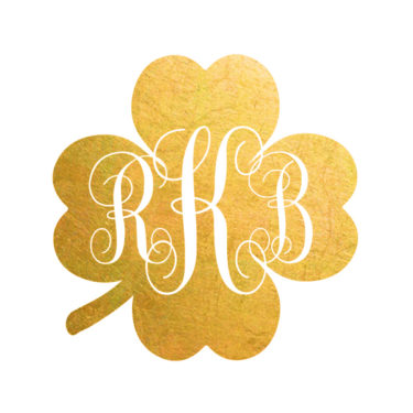 clover initials custom temporary tattoo in gold, personalized flash tattoo