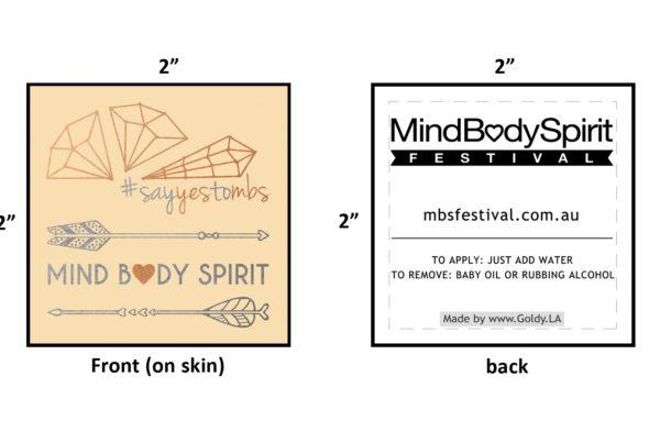 mindbodyspirit festival australia custom metallic flash temporary tattoos