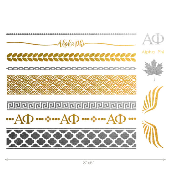 Alpha Phi custom metallic temporary flash tattoos for greek sorority