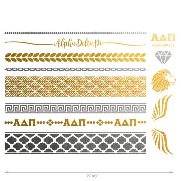 Alpha Delta Pi custom metallic temporary flash tattoos for greek sorority