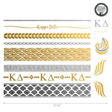 Kappa Delta custom metallic temporary flash tattoos for greek sorority