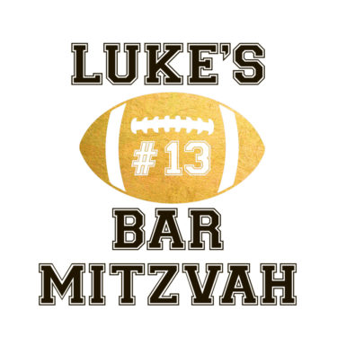 Rugby ball Bar Bat Mitzvah 13th birthday Personalized Custom Metallic Temporary Flash Tattoos