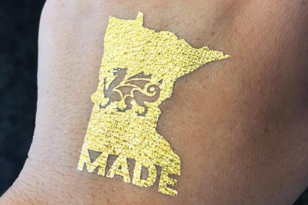 cambriaUSA custom metallic gold temporary tattoos, flash tattoos