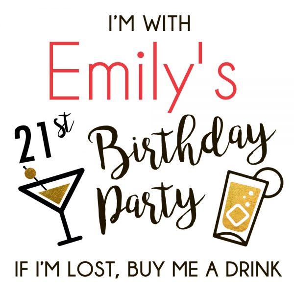 21st Birthday Party (design 3) temporary gold flash tattoo