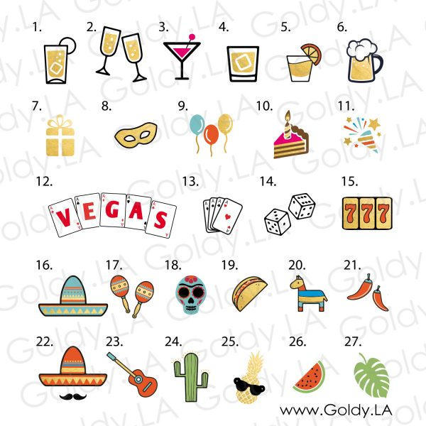 Personalized Flash Metallic Gold Temporary Tattoos, Icons for Cocktail Birthday Vegas Bachelorette Party