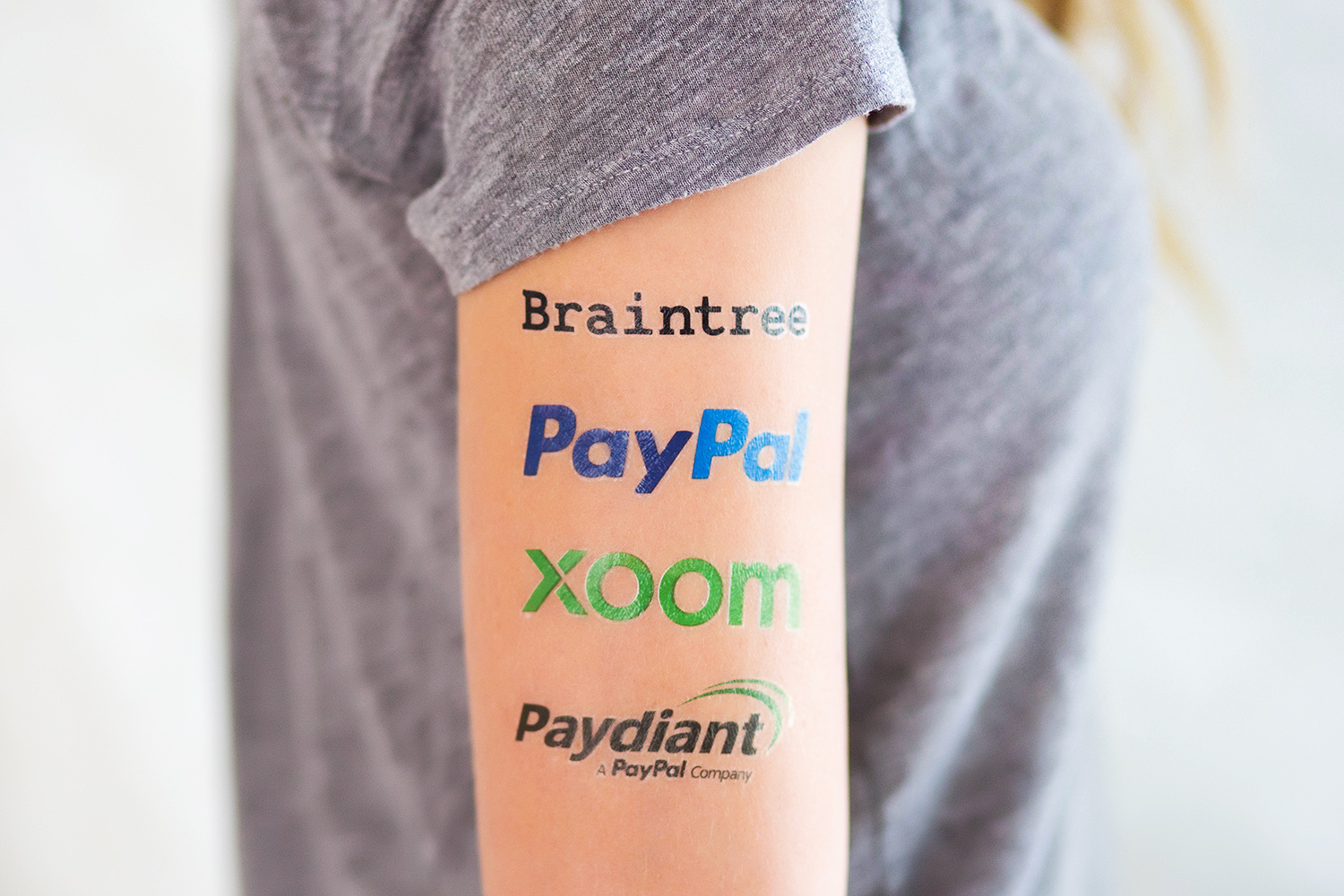 Custom temporary tattoos for Paypal, Braintree, Venmo, Paydiant by Goldy.LA