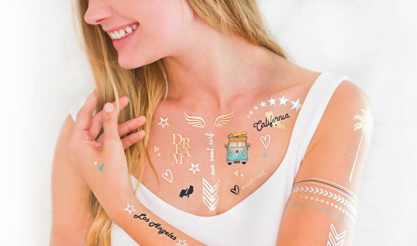 CUSTOM METALLIC TEMPORARY FLASH TATTOOS - Goldy.LA