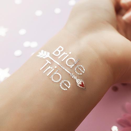 bride tribe silver custom metallic temporary tatto