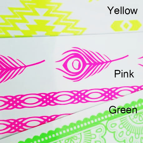 neon pink green yellow blue custom temporary tattoos