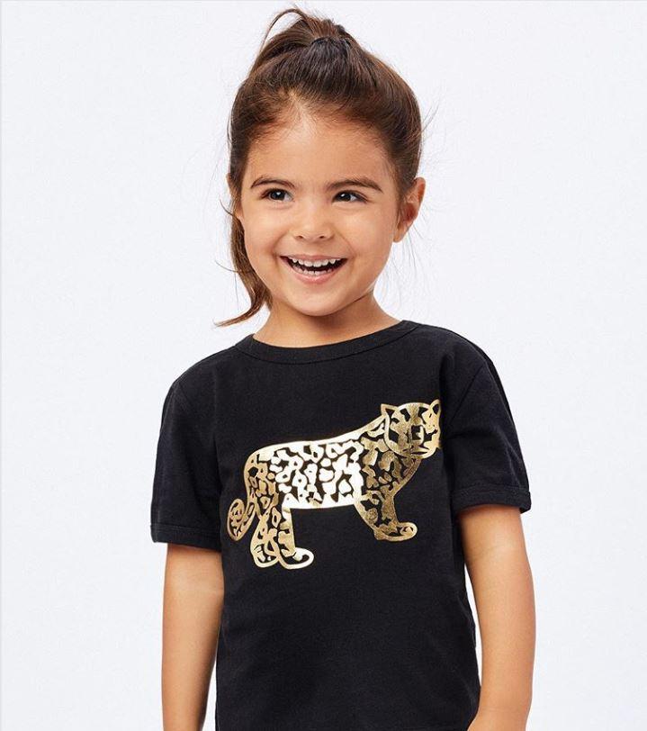 Custom gold metallic promo t-shirt for kids brand