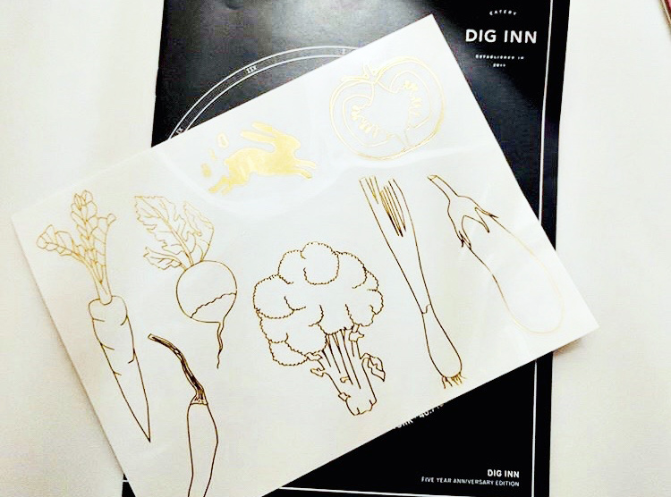 dig inn custom branded promotional temporary tattoo, gold metallic custom tattoo with vegetables, custom promo product for farm