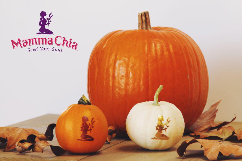 Mamma Chia Halloween Pumkin Decoration with gold Metallic Temporary Tattoos