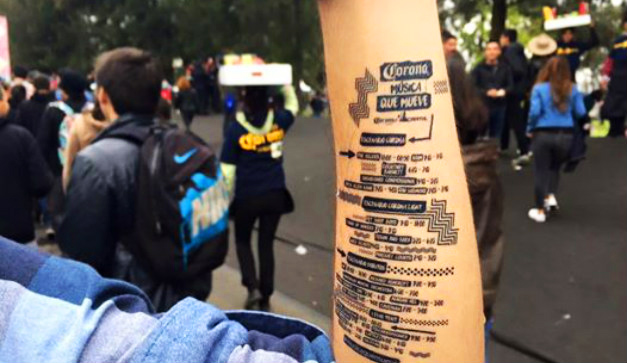 Custom Temporary Tattoo for Corona Capital Festival, non-trivial new promo product